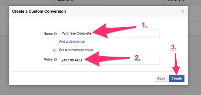 Come assegnare un valore alla conversione Facebook