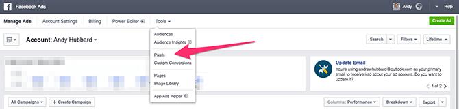 Accedi al pixel di Facebook