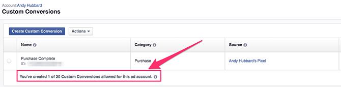 Conversioni personalizzate Facebook - numero massimo