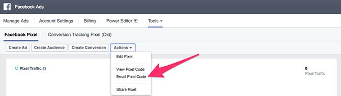 inviati il codice del pixel facebook via email