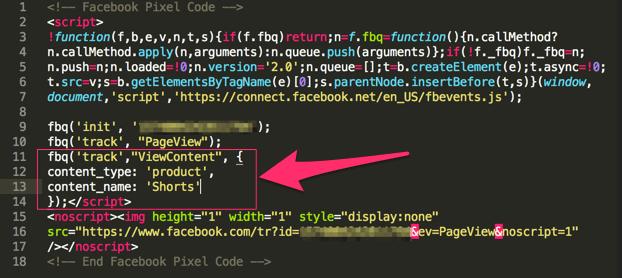 Altri parametri da aggiungere al pixel facebook